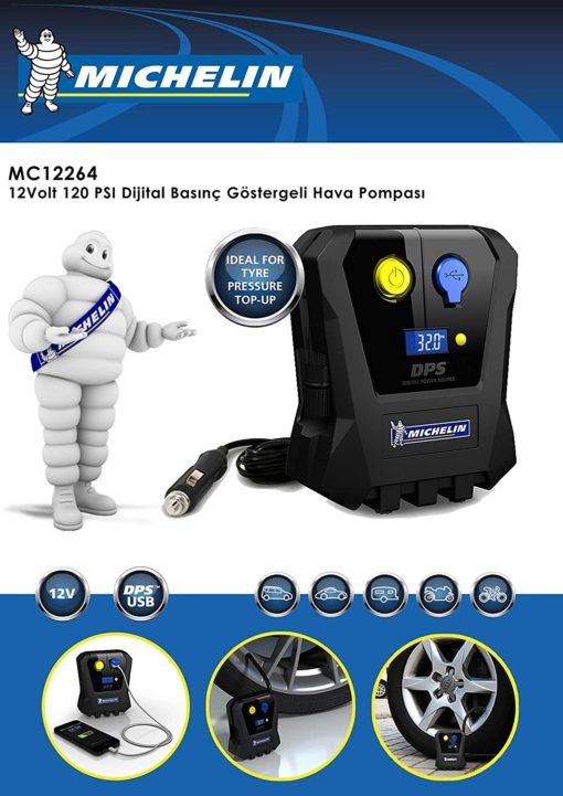 Michelin 12264 Digital Micro Tyre Inflator (Black)   Only For Topup